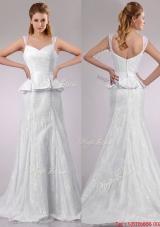 Fashionable Column V Neck Court Train Bridal Dress in Lace