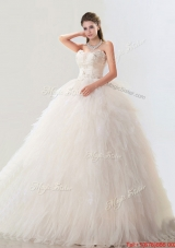Fashionable Deep V Neckline Wedding Dresses with Beading and Ruffles