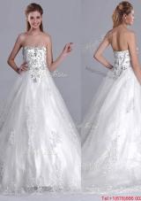 Luxurious Strapless Princess Brush Train Beaded Wedding Dress in Tulle