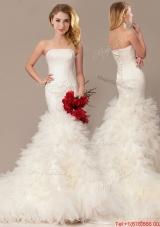 Elegant Mermaid Court Train Wedding Dresses with Ruffles