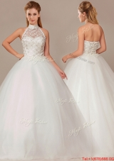 Cheap Ball Gown High Neck Wedding Dresses with Beading and Appliques