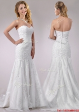 Cheap Mermaid Wedding Dresses with Beading and Appliques