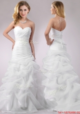 Mermaid Sweetheart Beaded Decorate Waist Brush Train Wedding Dresses