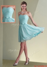 Beautiful Strapless Chiffon Short Dama Dress with Belt and Ruching