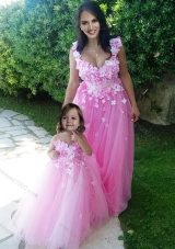 Beautiful Deep V Neckline Lovely Prom Dress with Appliques and Hot Sale Rose Pink Little Girl Dress with See Through Scoop