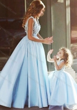 Luxurious V Neck Satin Lovely Prom Dress with Appliques and Most Popular Big Puffy Little Girl Dress with Straps