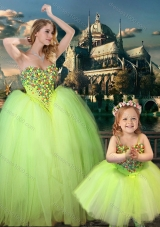 New Arrivals Beaded Really Puffy Lovely Prom Dress in Yellow Green and Classical Spaghetti Straps Little Girl Dress with Beading