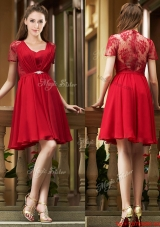 2016 Elegant See Through Back Red Short Bridesmaid Dress with Short Sleeves