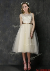 2016 Popular Scoop Champagne Bridesmaid Dress with Sashes and Lace