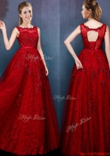 2016 See Through Scoop Wine Red Dama Dress with Beading and Appliques
