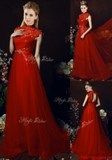 Beautiful High Neck Open Back Beaded Bridesmaid Dress with Brush Train