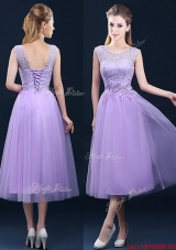 Beautiful See Through Laced and Applique Bridesmaid Dress in Tea Length