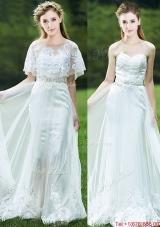 Cheap A Line Applique White Bridesmaid Dress with Brush Train