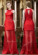 Cheap Belted Red Long Bridesmaid Dress in Tulle and Lace