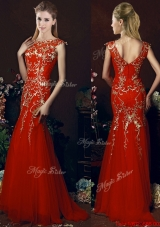 Elegant Mermaid Red Bridesmaid Dress with Gold Sequined Appliques
