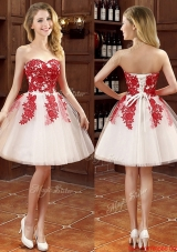 Hot Sale Mini Length Appliques Bridesmaid Dress in White