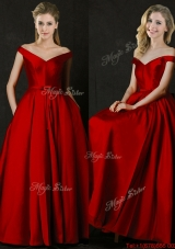 Latest Bowknot Wine Red Long Bridesmaid Dress with Off the Shoulder