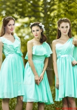 Lovely Belted and Ruched Short Bridesmaid Dress in Apple Green
