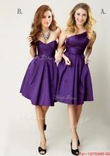 Top Selling Mini Length Ruching Bridesmaid Dress in Purple