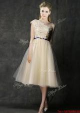 2016 Elegant One Shoulder Sashes and Appliques Dama Dresses in Champagne