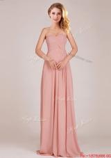2016 Fashionable Empire Chiffon Ruched Long Dama Dresses in Peach