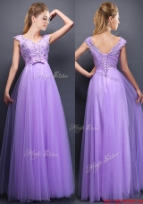 2016 Lovely Beaded and Bowknot V Neck Dama Dresses in Lavender