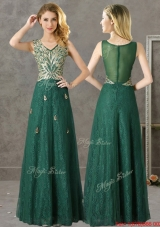 2016 Luxurious V Neck Dark Green Dama Dresses with Appliques and Beading