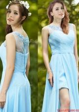 2016 Elegant See Through Scoop Appliques Prom Dresses in Light Blue