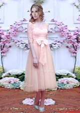 2016 Fashionable See Through Scoop Half Sleeves Prom Dresses with Bowknot