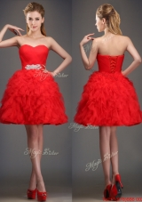 2016 Perfect Really Puffy Red Prom Dresses  with Beading and Ruffles