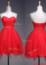 2016 Wonderful Ruffled and Belted Short  Prom Dresses  in Red