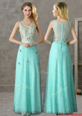 Discount Beaded and Applique V Neck Prom Dresses in Apple Green