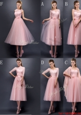 Most Popular Baby Pink Tulle Bulk Sale Dama Dresses n Tea Length