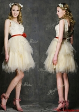 Most Popular V Neck Short  Prom Dresses with Belt and Ruffled Layers