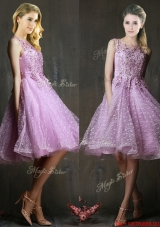 Popular See Through Beaded and Applique Prom Dresses  in Lavender