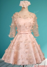 Wonderful Applique and Belted Scoop Short Prom Dresses  in Peach