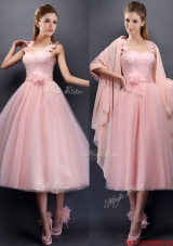 2016 Classical Straps Baby Pink Mother of Bride Dresses  with Appliques and Hand Made Flowers