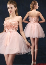 Lovely Baby Pink Short Mother of Bride Dresses with Bowknot and Hand Made Flowers