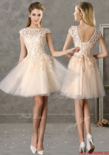 Classical Bateau Cap Sleeves Lace Mother of Bride Dresses  in Champagne