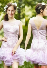 Fashionable Laced and Ruffled Short Prom Dresses  in Lavender