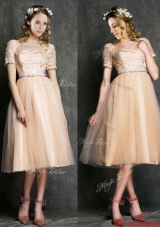 Lovely Bateau Short Sleeves Prom Dresses  with Sashes and Lace