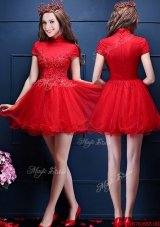 Luxurious High Neck Short Sleeves Prom Dresses with Appliques and Beading