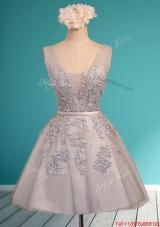Modest Deep V Neckline Grey Mother of Bride Dresses with Appliques and Belt