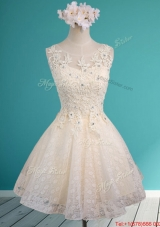 See Through Scoop Short Prom Dresses  with Beading and Appliques