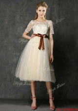 See Through Scoop Short Sleeves  Mother of Bride Dresses  with Bowknot and Lace
