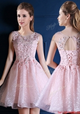 Popular Baby Pink Scoop Bridesmaid Dress with Appliques and Beading