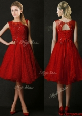 Popular Knee Length Red Bridesmaid Dress with Beading and Appliques