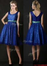 Popular New Arrivals Belted and Laced Blue Bridesmaid Dress in Knee Length