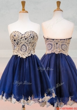 Popular Organza Applique with Beading Bridesmaid Dress in Royal Blue