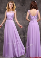 Popular See Through Applique and Laced Bridesmaid Dress in Lavender